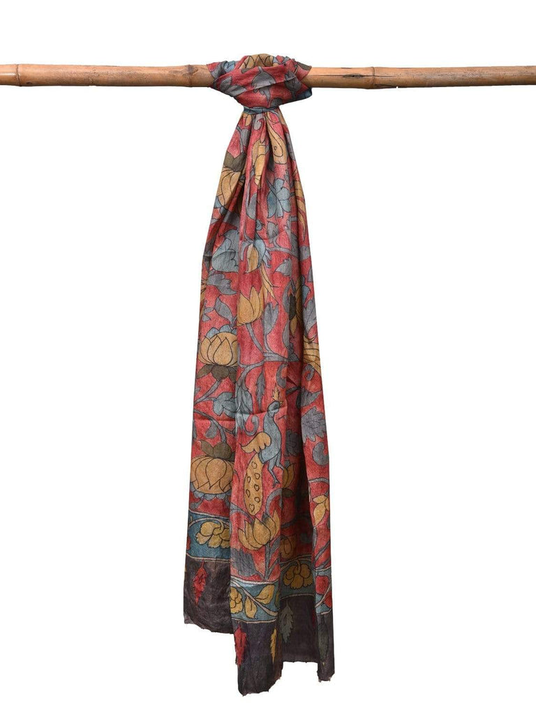 Red Kalamkari Hand Painted Tussar Handloom Dupatta with Flowers and Birds Design ds2142