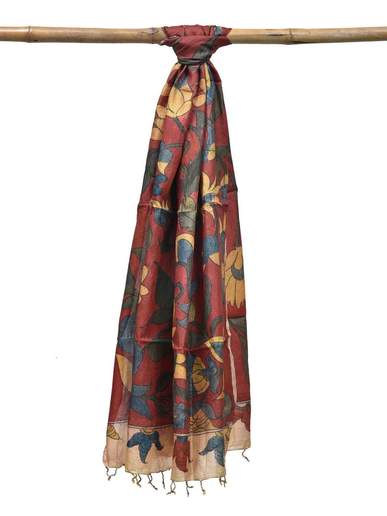 Red Kalamkari Hand Painted Tussar Handloom Dupatta with Flowers Design ds1819