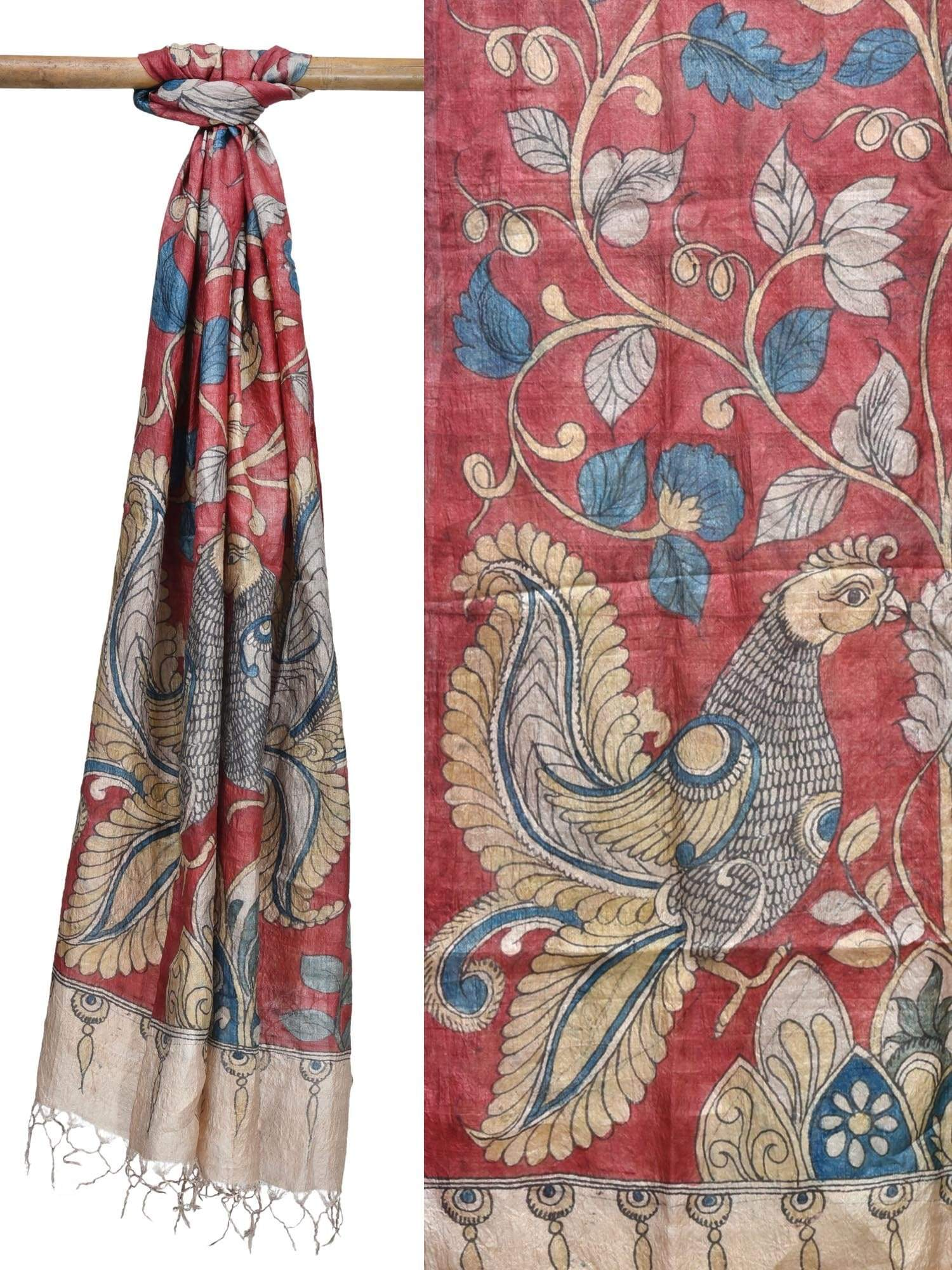 Red Kalamkari Hand Painted Tussar Handloom Dupatta with Peacocks and Flowers Design ds1790