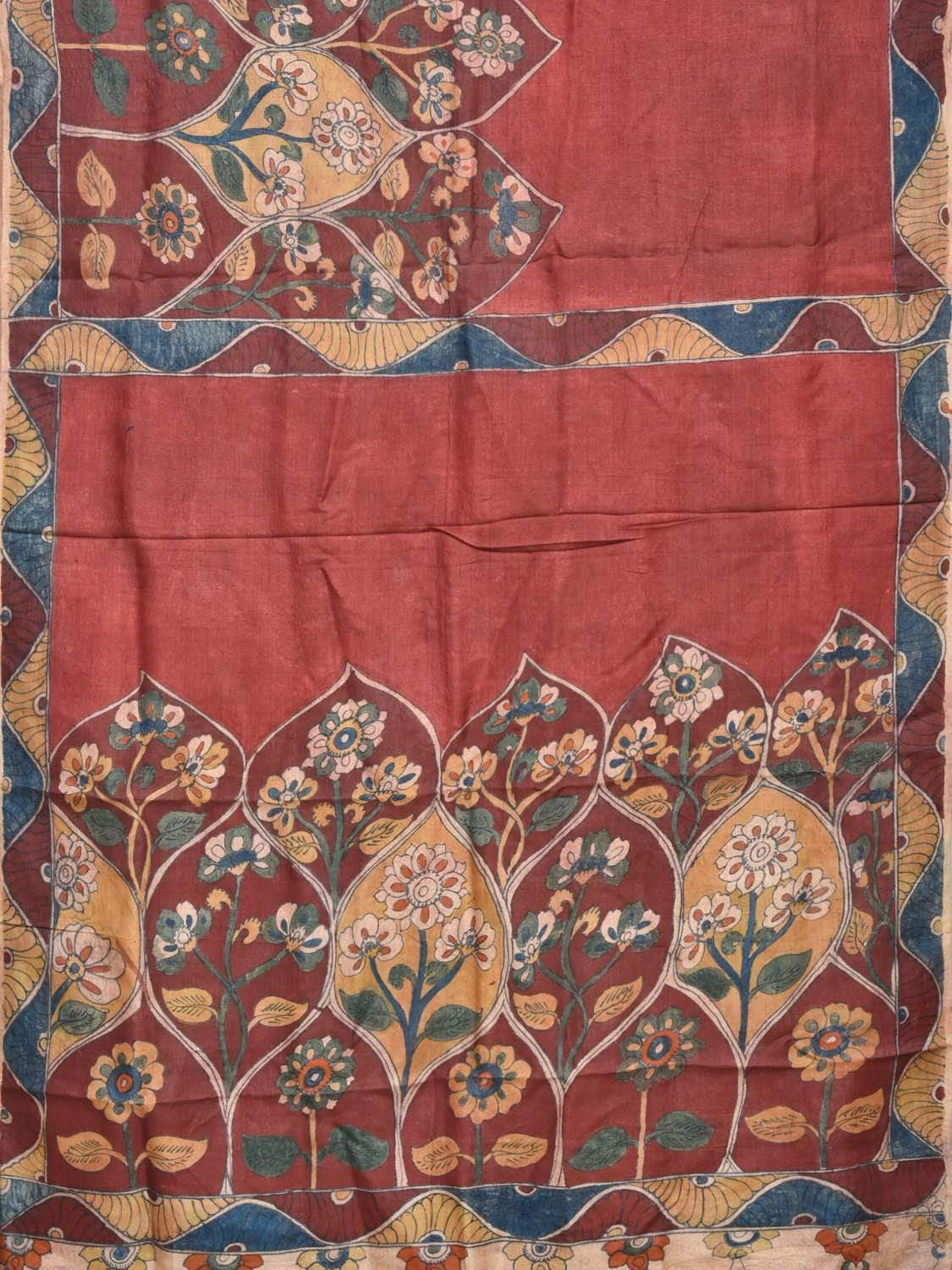 Red Kalamkari Hand Painted Tussar Handloom Saree with Flower Palnts Border Design KL0197