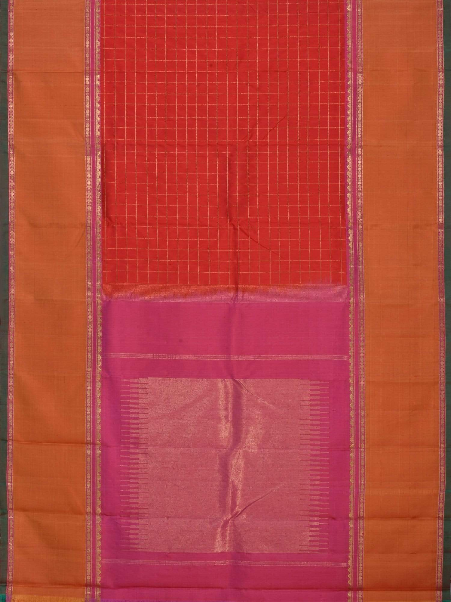 Red Kanchipuram Slik Handloom Saree with Checks Design K0295