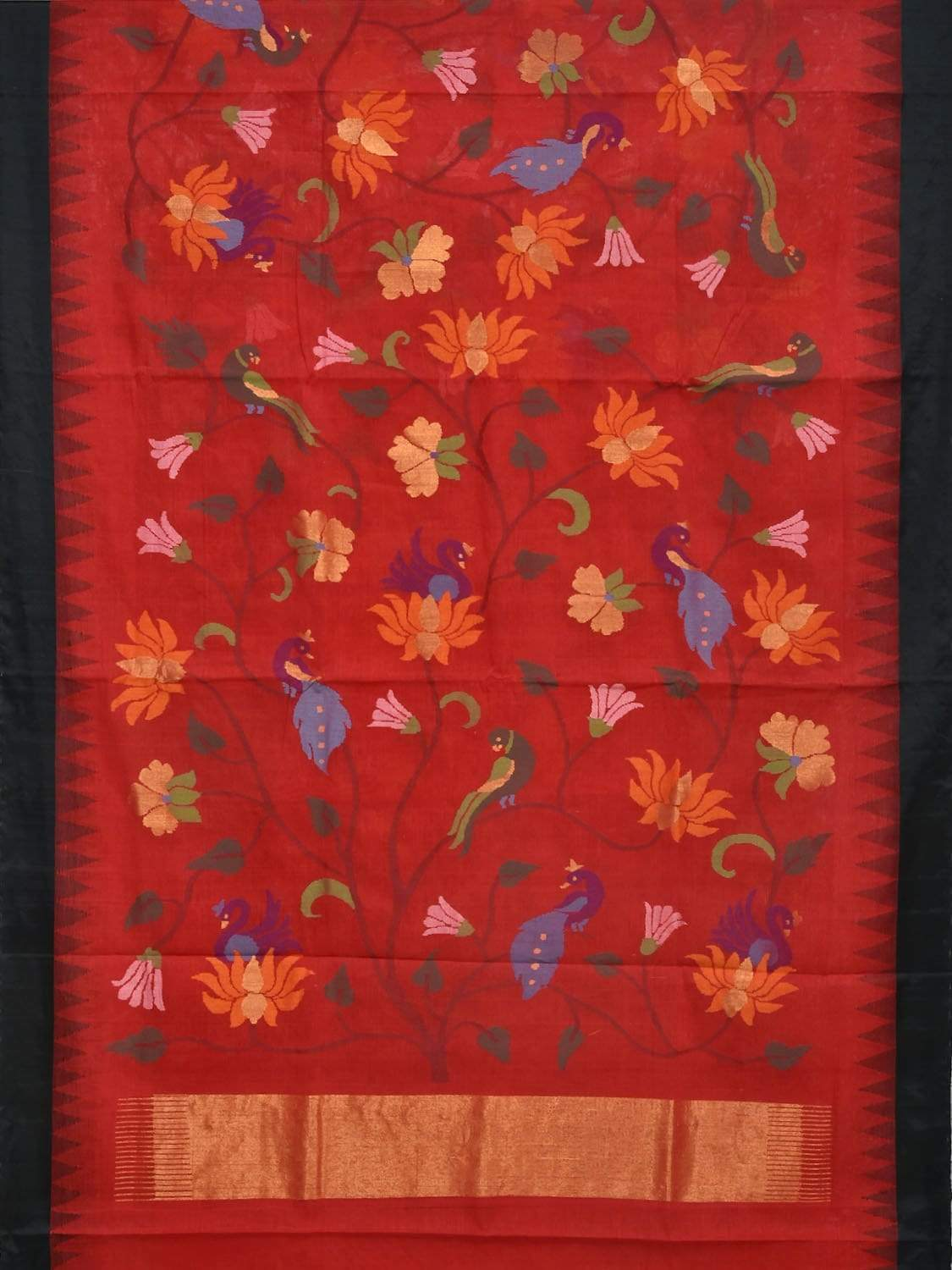 Red Khadi Cotton Handloom Saree with All Over Flowers and Birds Design Kh0460