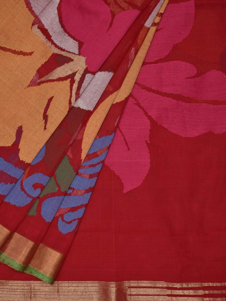 Red Khadi Cotton Handloom Saree with All Over Large Flowers Design kh0347