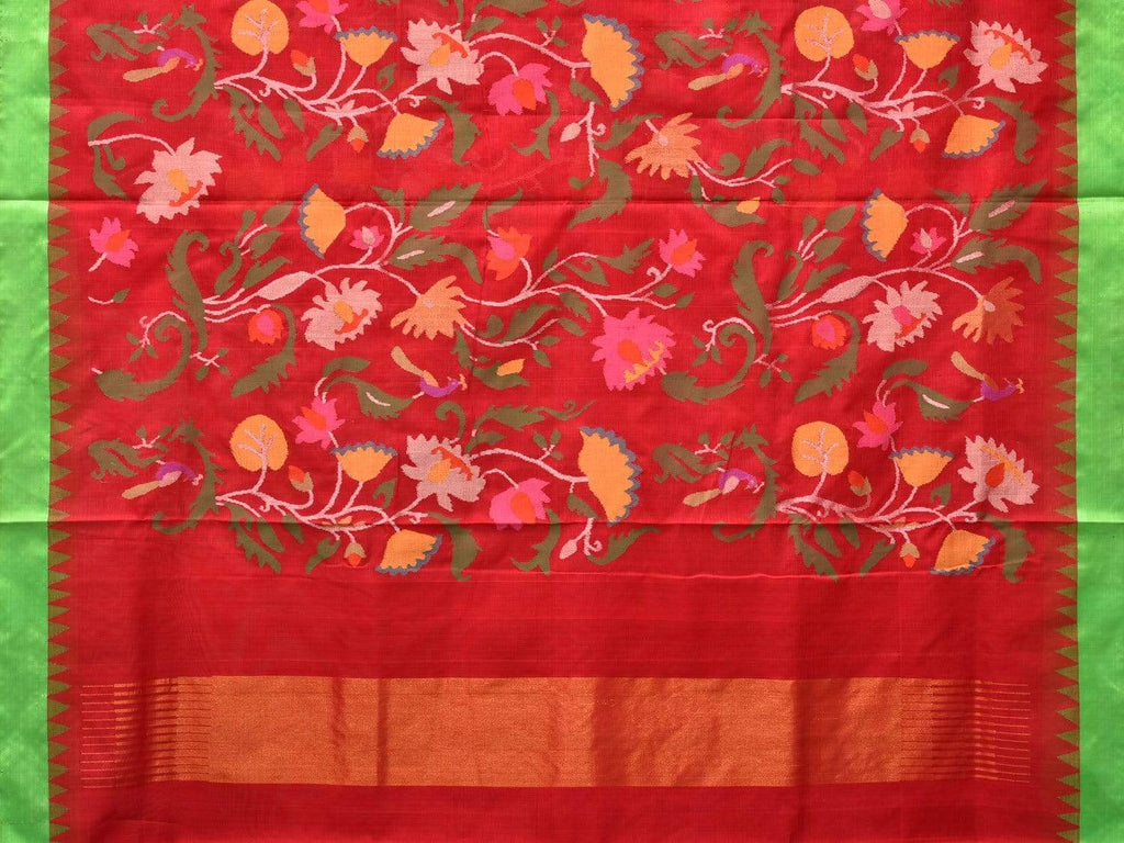 Red Khadi Cotton Handloom Saree with All Over Lotus Flowers Design kh0502