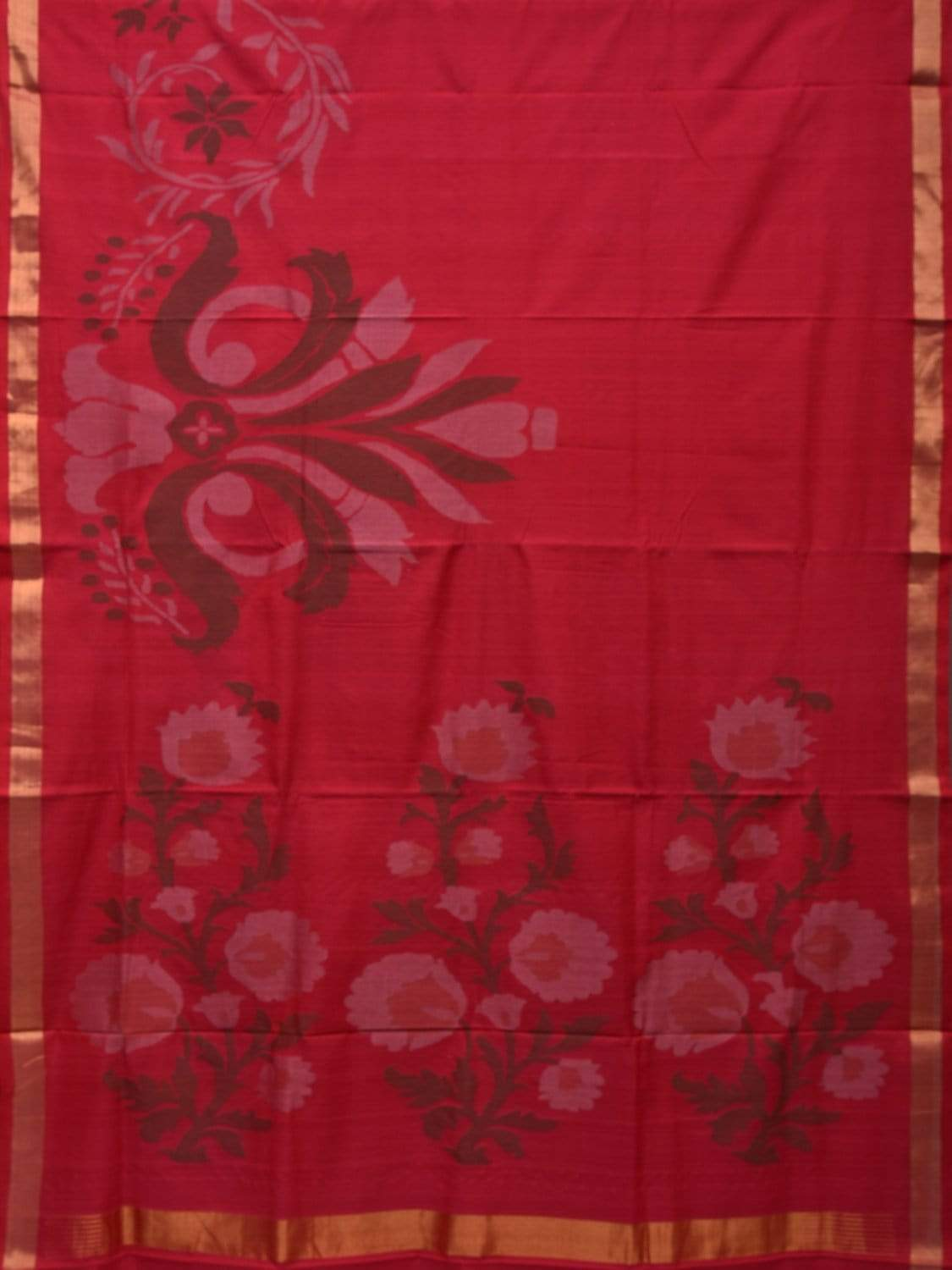 Red Khadi Cotton Handloom Saree with One Side Border Design kh0482