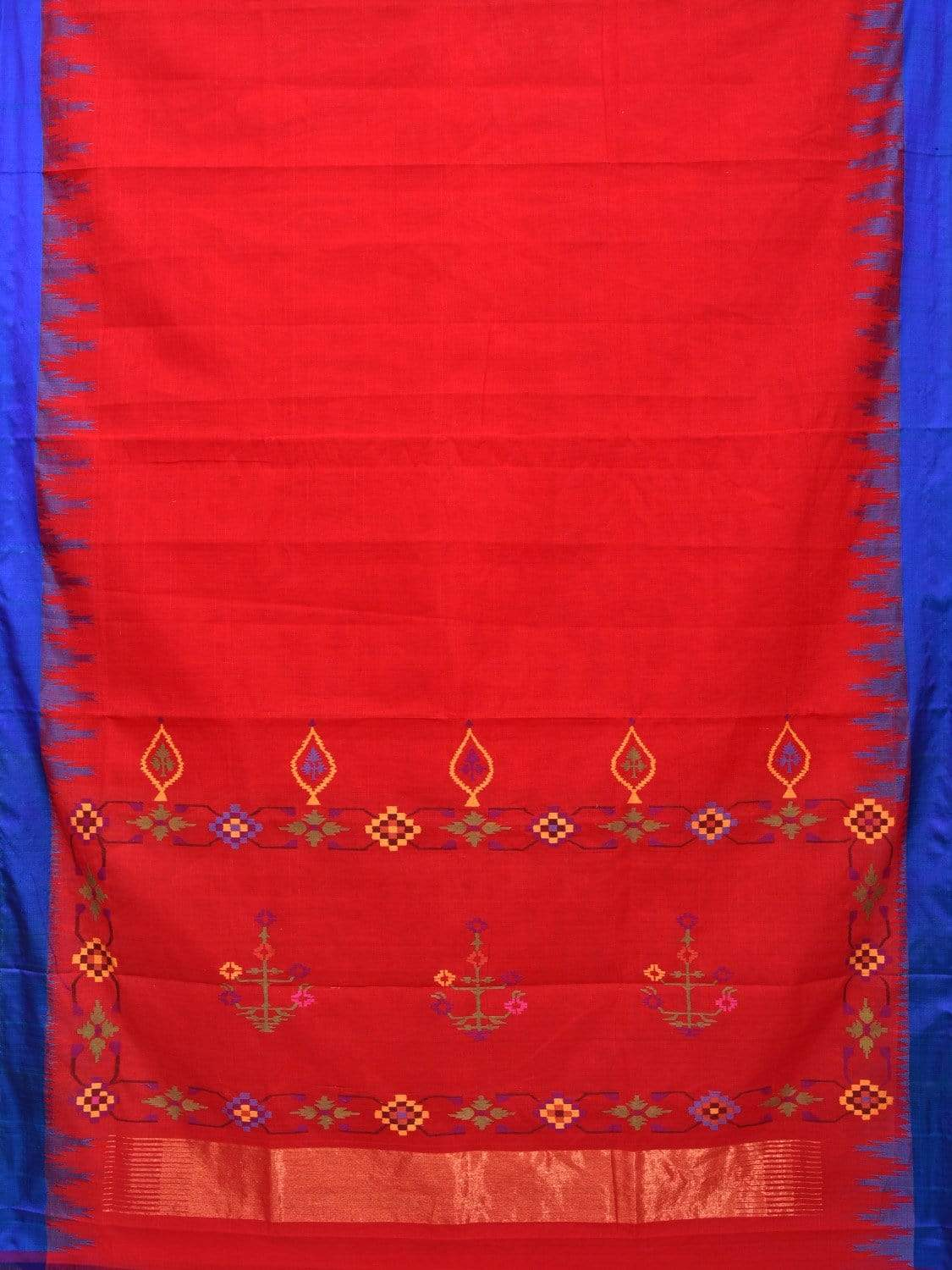 Red Khadi Cotton Handloom Saree with Paithani Pallu Design kh0488
