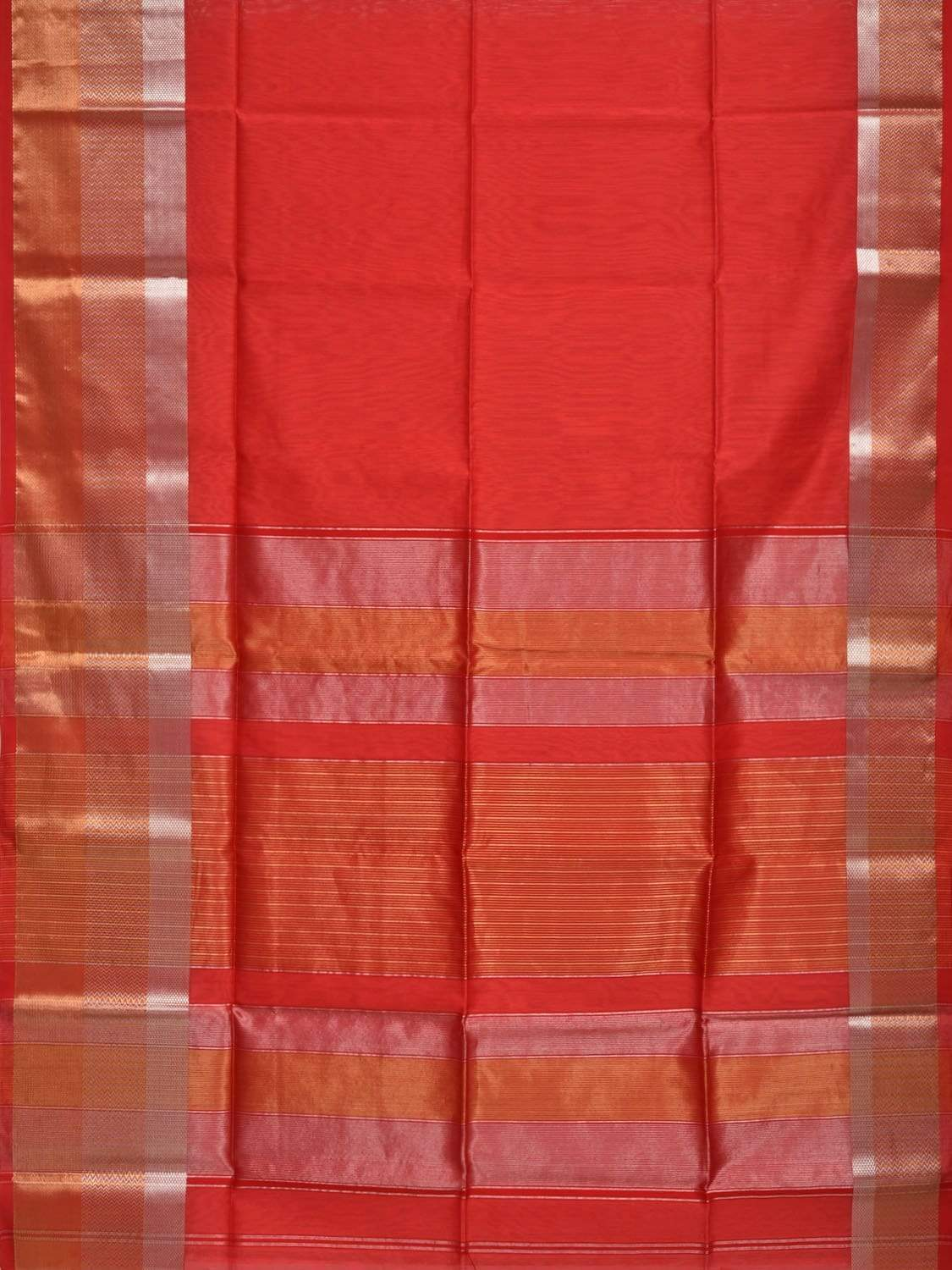 Red Maheshwari Cotton Silk Handloom Plain Saree with One Side Big Border Design m0115