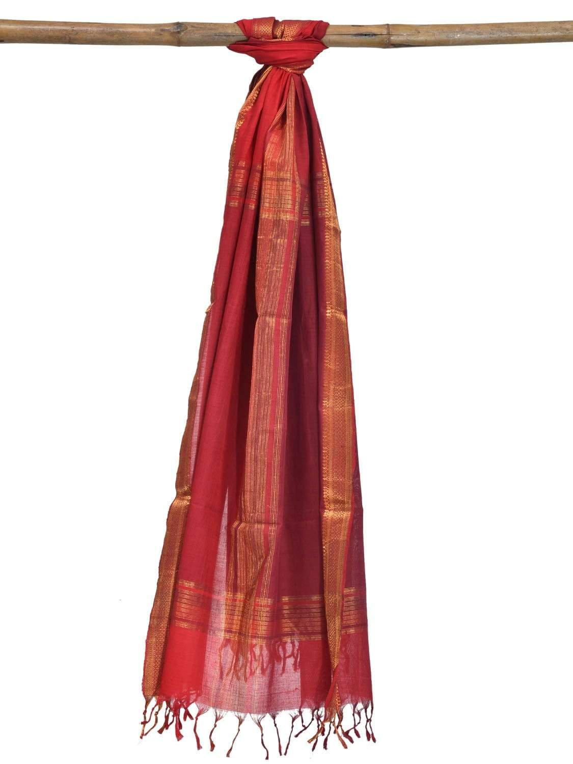 Red Mangalgiri Cotton Handloom Dupatta with Zari Border ds1853