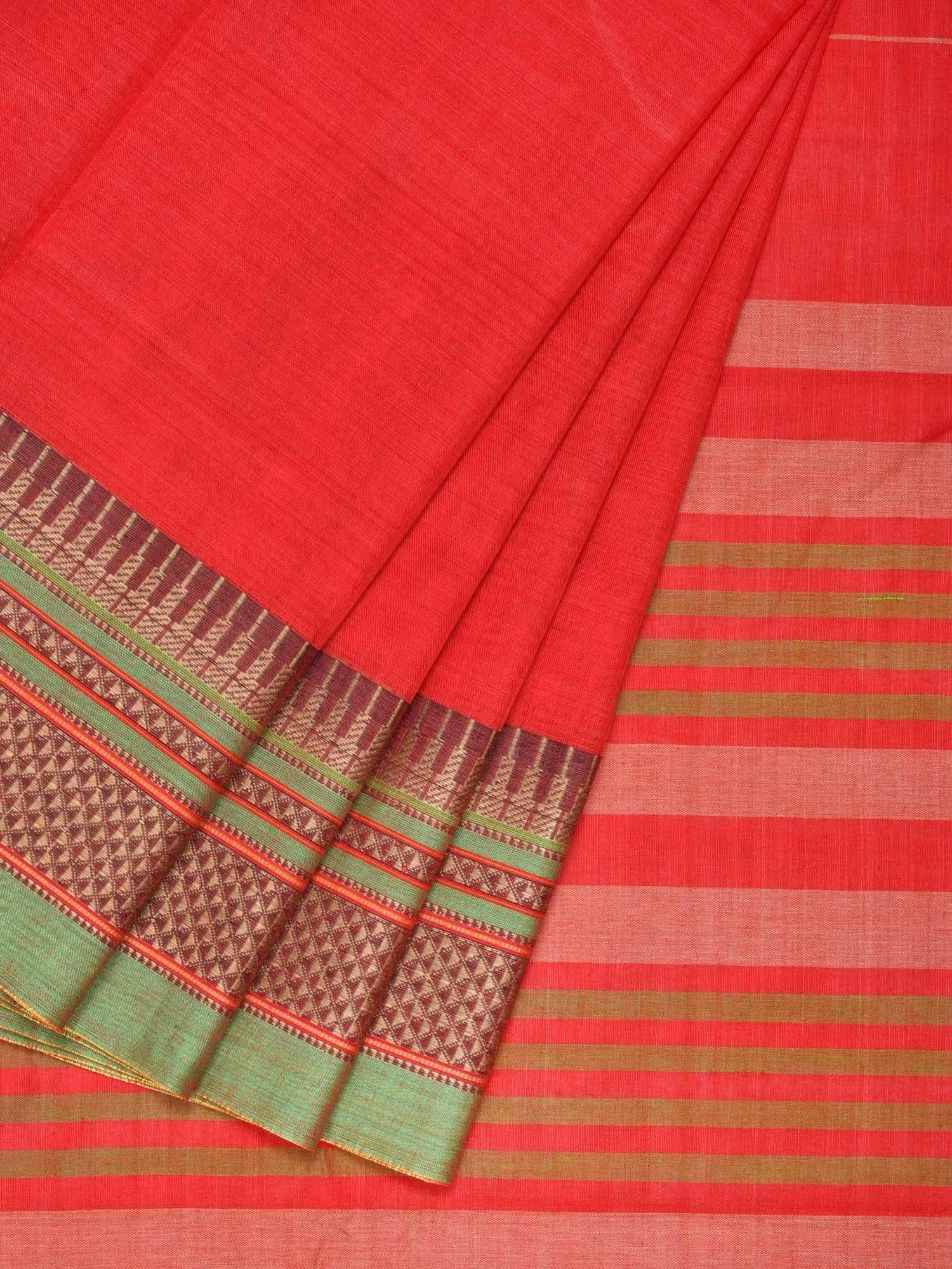Red Narayanpet Cotton Handloom Plain Saree with Traditional Border Design No Blouse np0216
