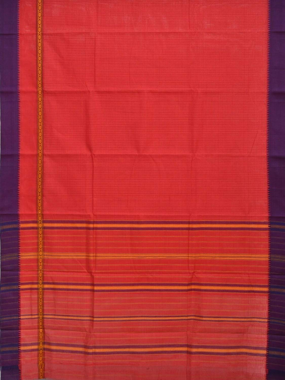 Red Narayanpet Cotton Handloom Saree with Checks and One Side Big Border Design No Blouse np0259