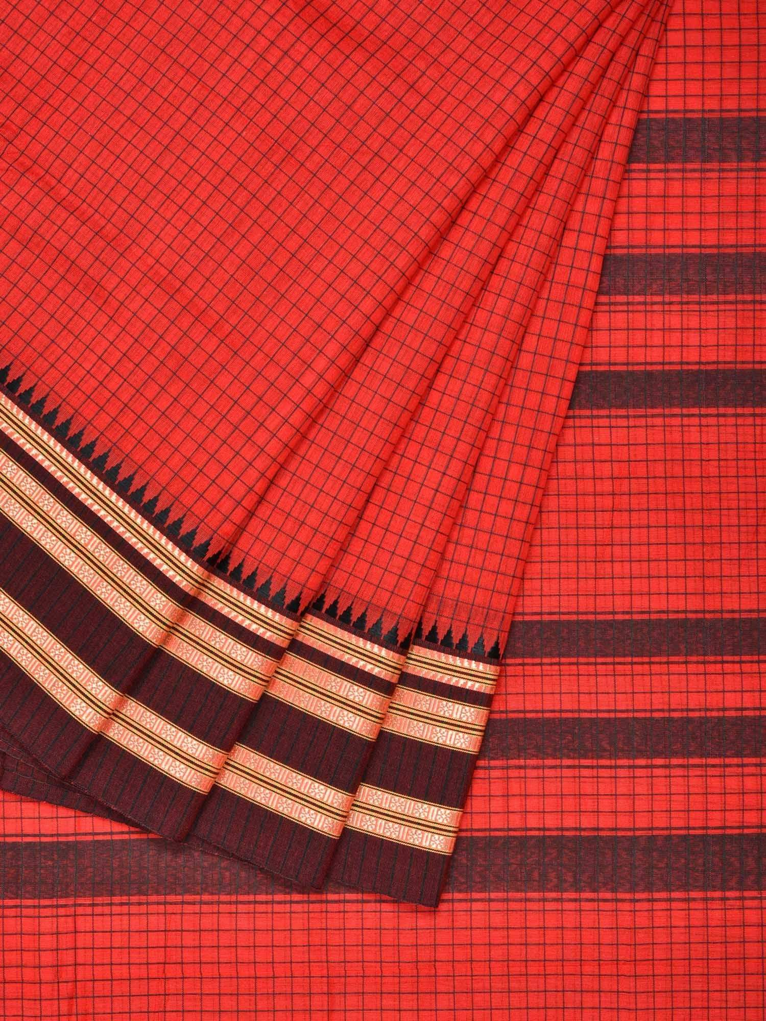 Red Narayanpet Cotton Handloom Saree with Checks and Traditional Border Design No Blouse np0220