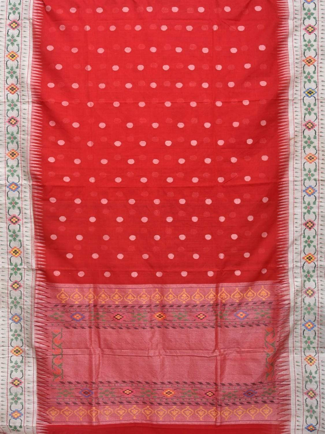 Red Paithani Cotton Handloom Saree with Body Buta and Border Design p0345