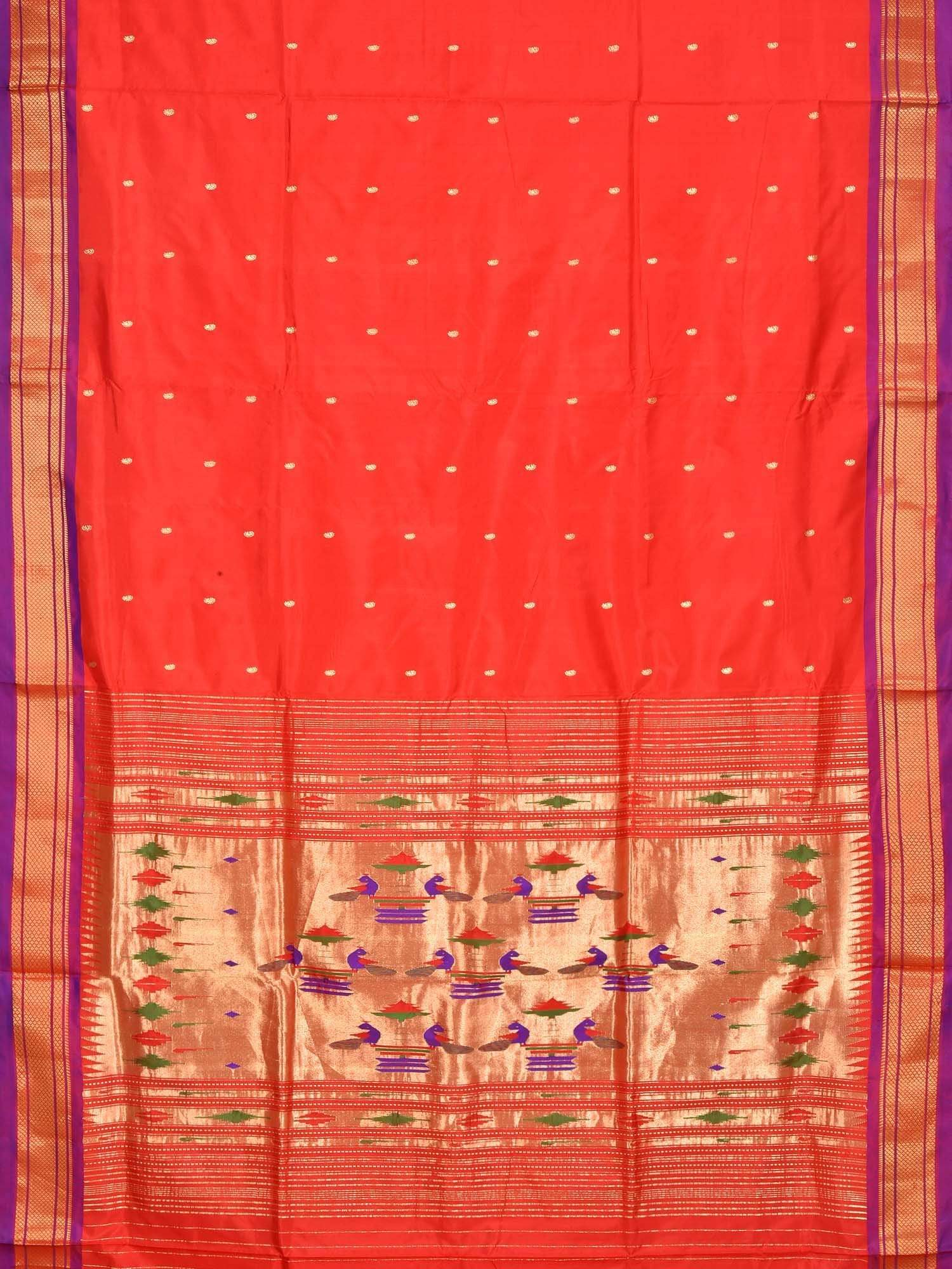 Red Paithani Silk Handloom Saree with Double Pallu Design P0315