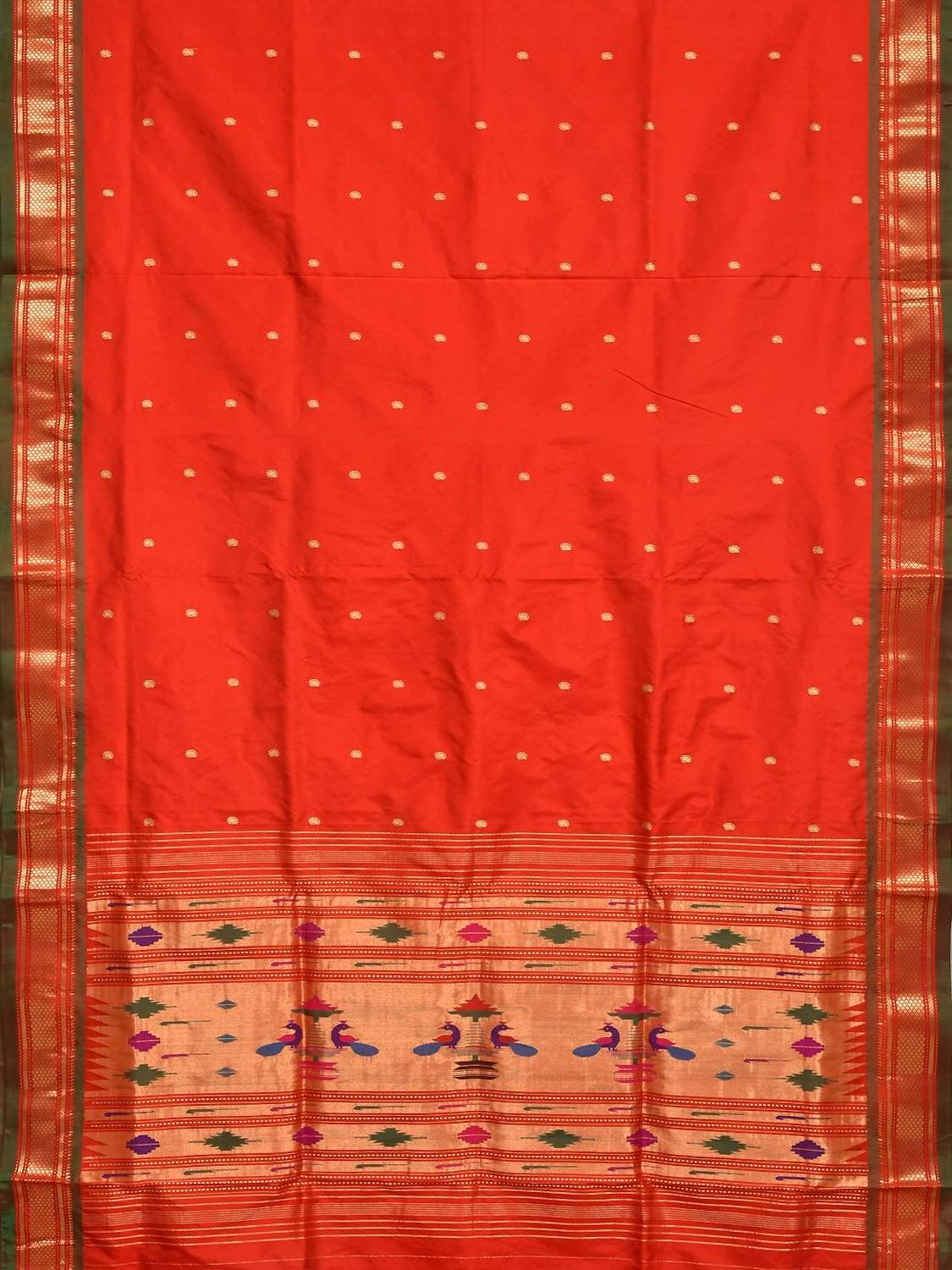 Red Paithani Silk Handloom Saree with Single Pallu Design p0328