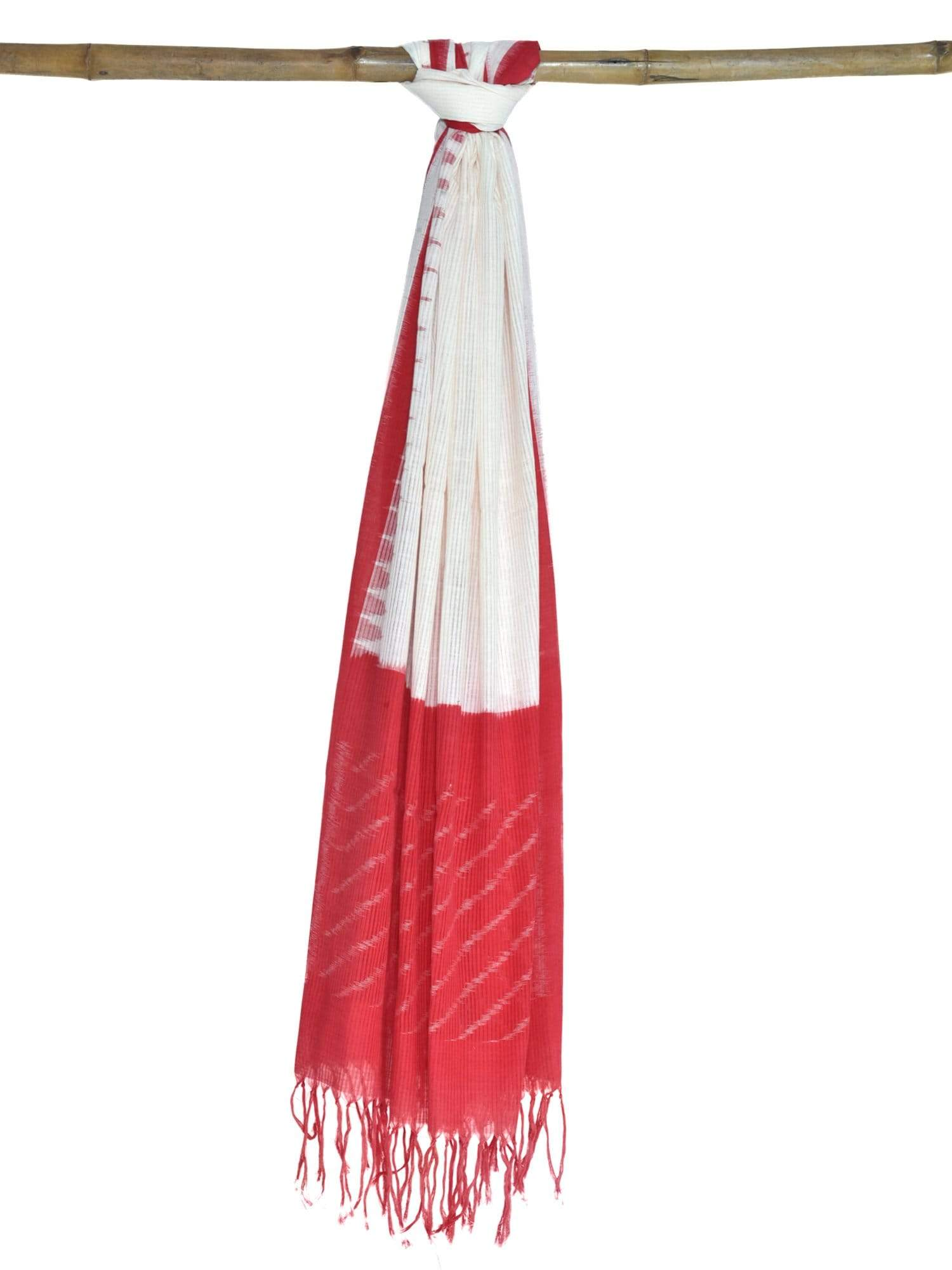 Red Pochampally Ikat Cotton Handloom Dupatta with Temple Border ds1616