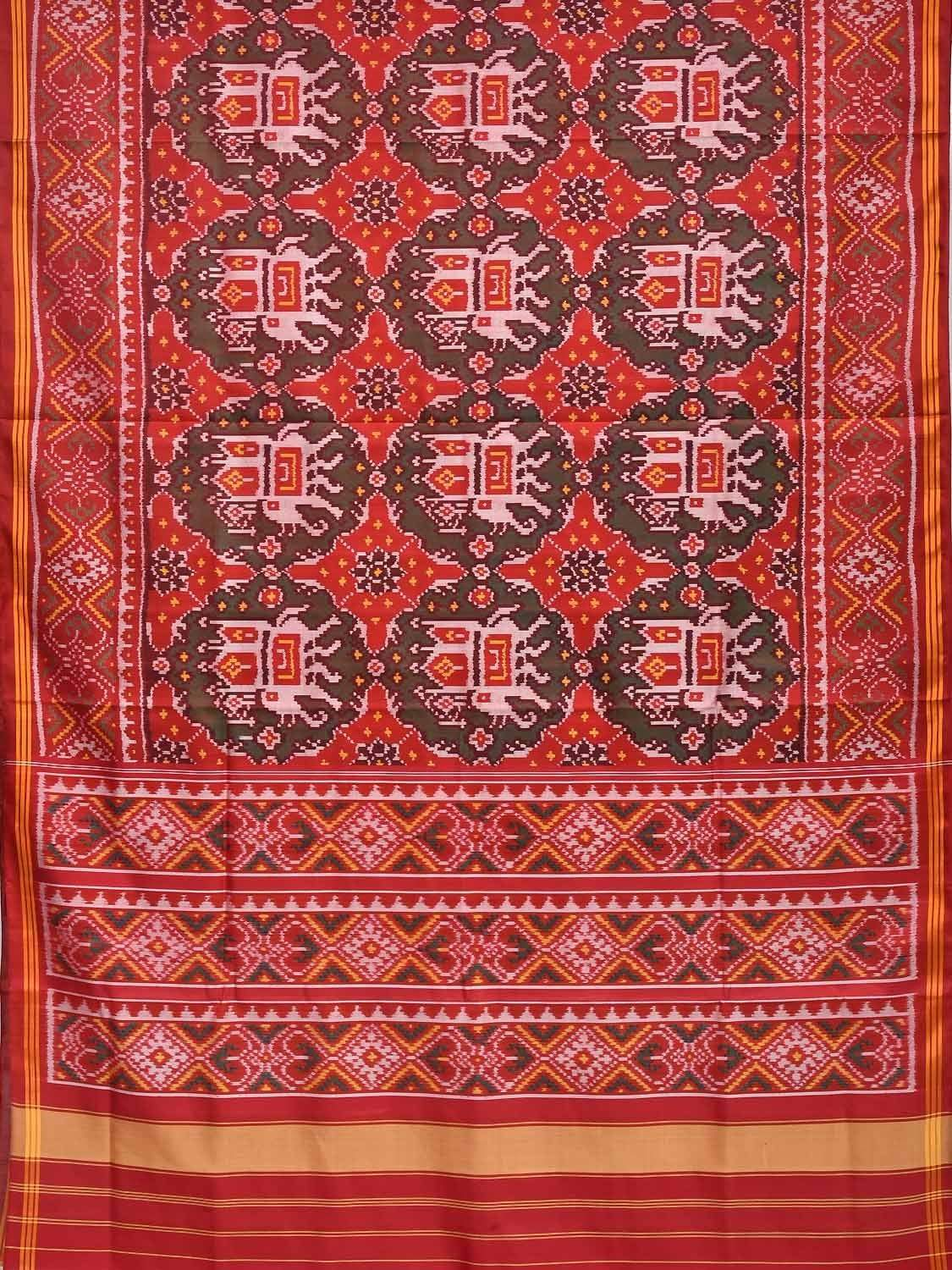Red Pochampally Ikat Silk Handloom Saree with All Over Elephant Design i0525