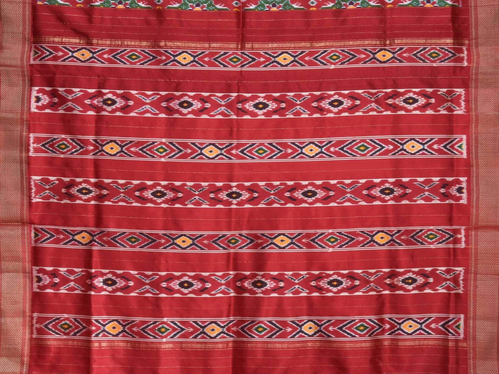 Red Pochampally Ikat Silk Handloom Saree with Indonesian Twill Weave and Zari Border Design i0445