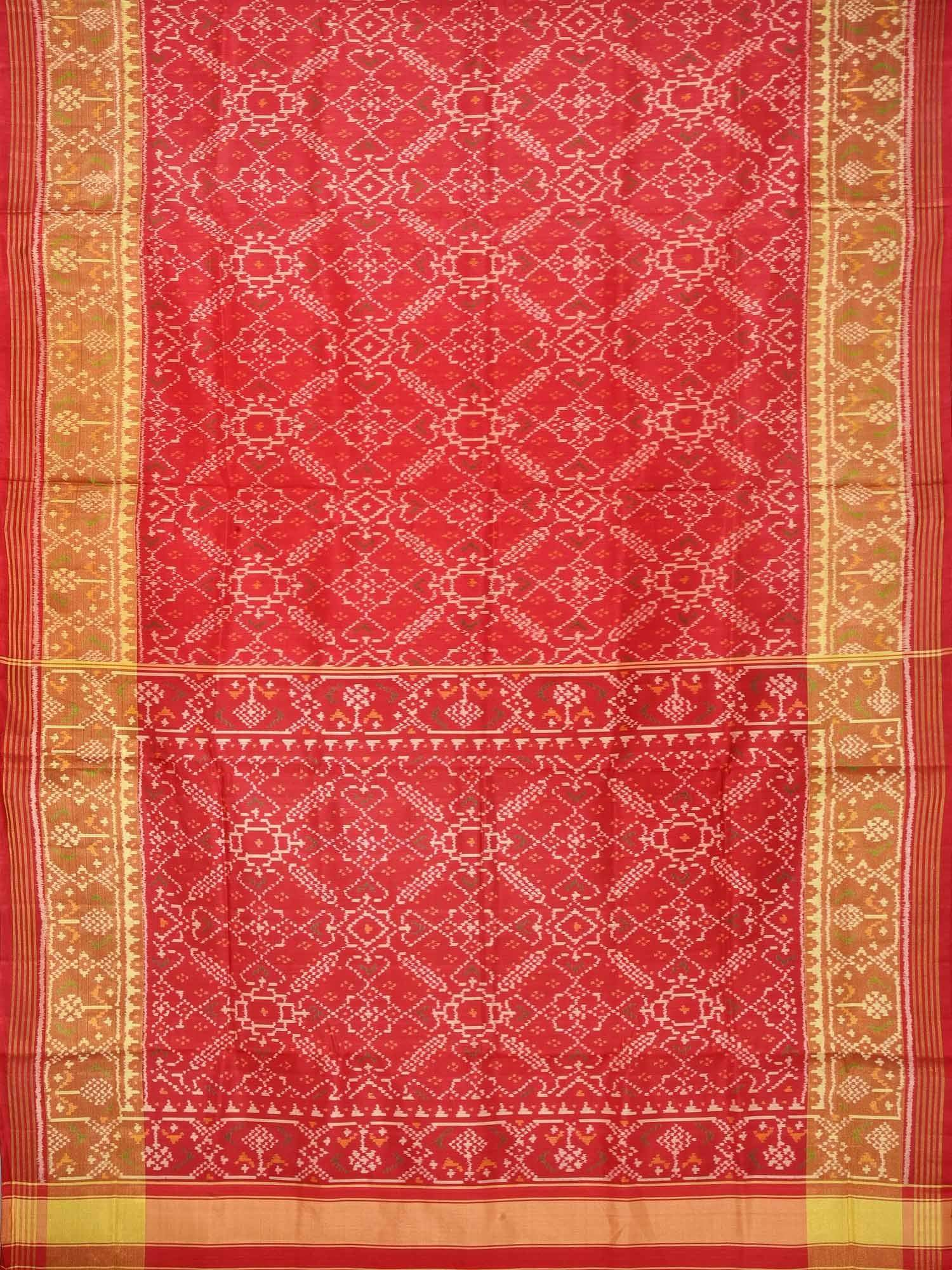 Red Pochampally Ikat Silk Handloom Saree with Pan Patola Design i0517