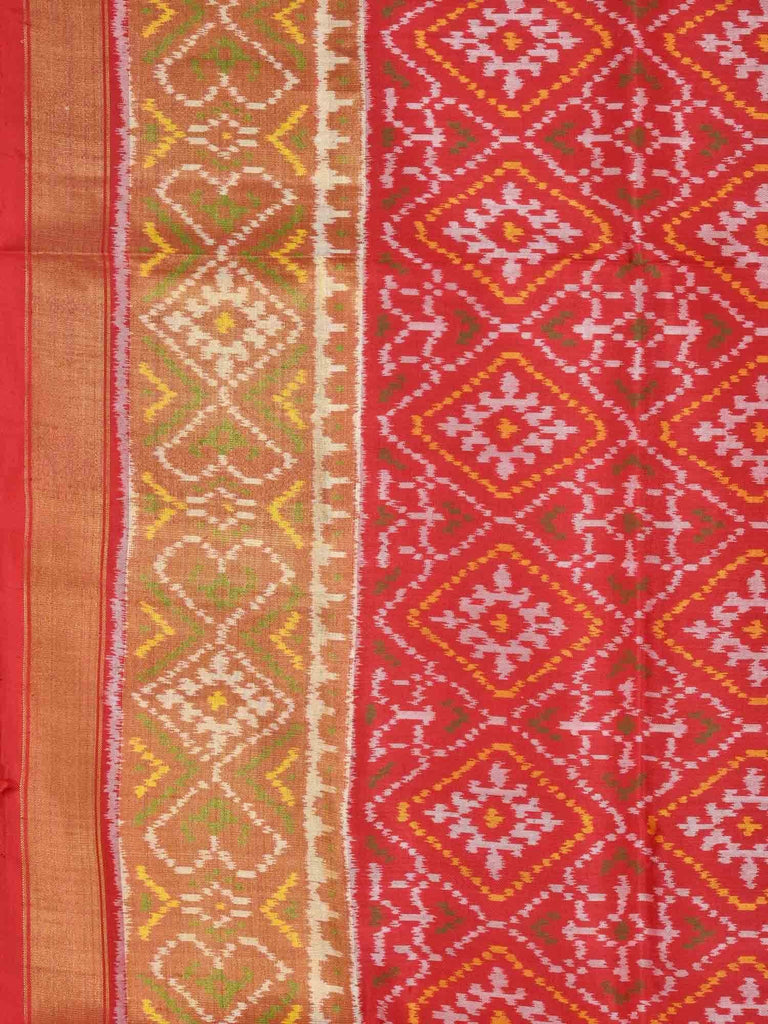 Red Pochampally Ikat Silk Handloom Saree with Pan Patola Design i0519