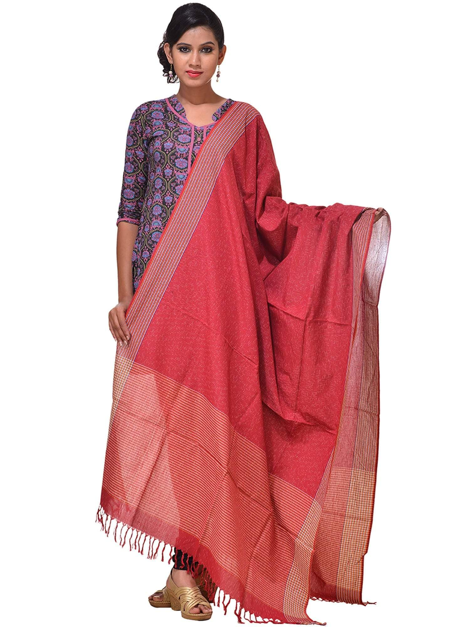 Red Pochampally or Ikat Cotton Dupatta ds0957