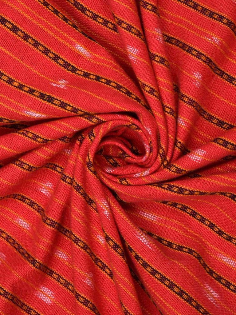 Red Single Ikat Cotton Handloom Fabric With Strips Design F0049