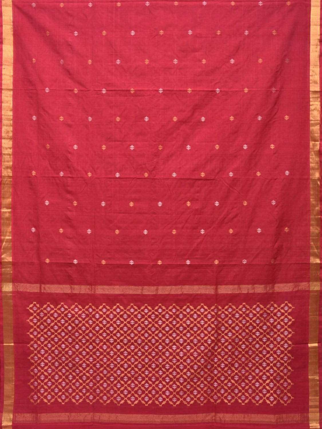 Red Uppada Cotton Handloom Saree with Jamdani Pallu Design No Blouse u1630