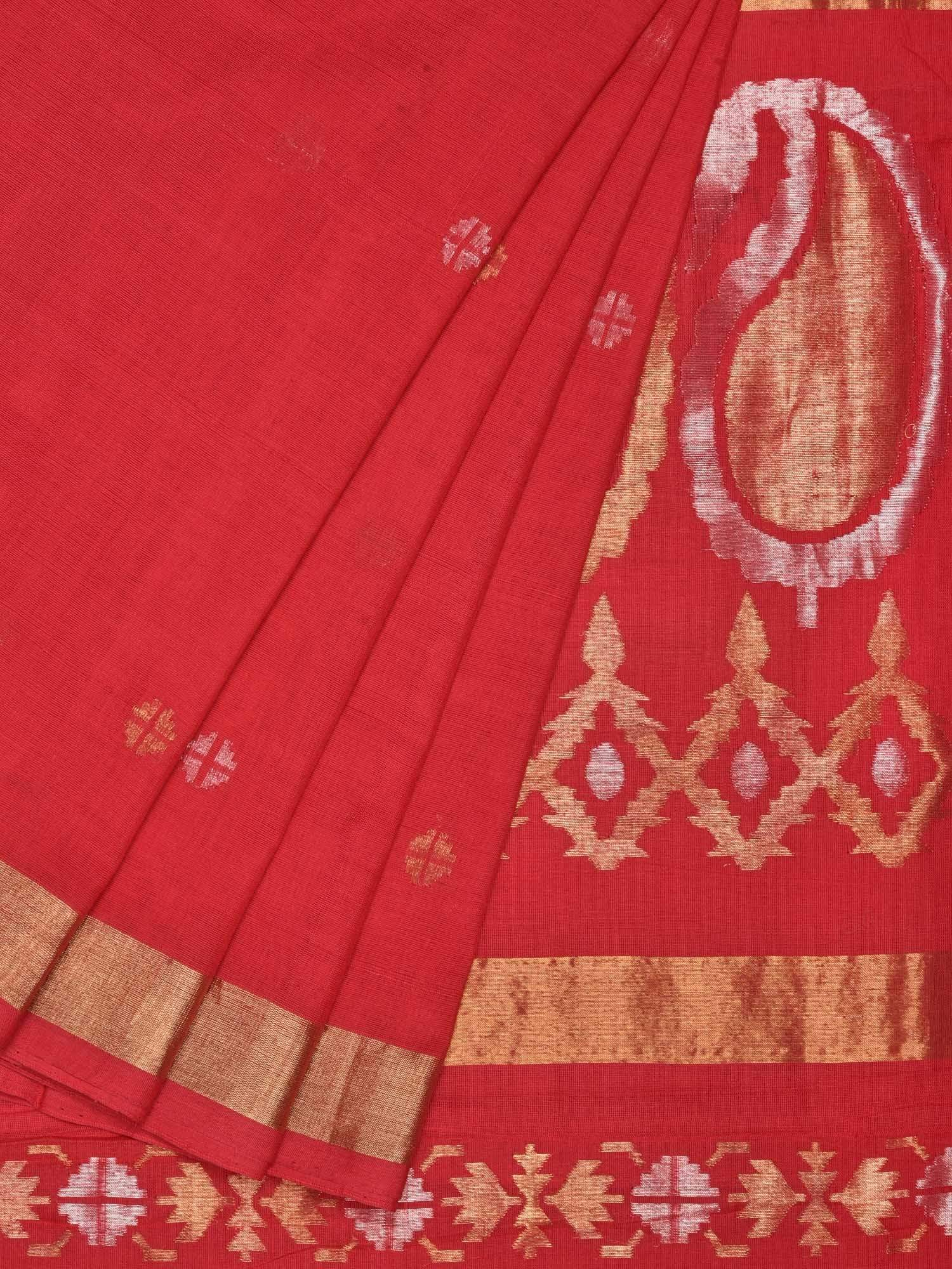 Red Uppada Cotton Handloom Saree with Mango Pallu Design U1486