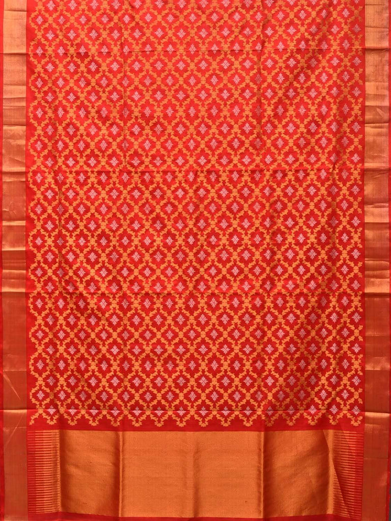 Red Uppada Silk Handloom Saree with All Over Grill Design u1720