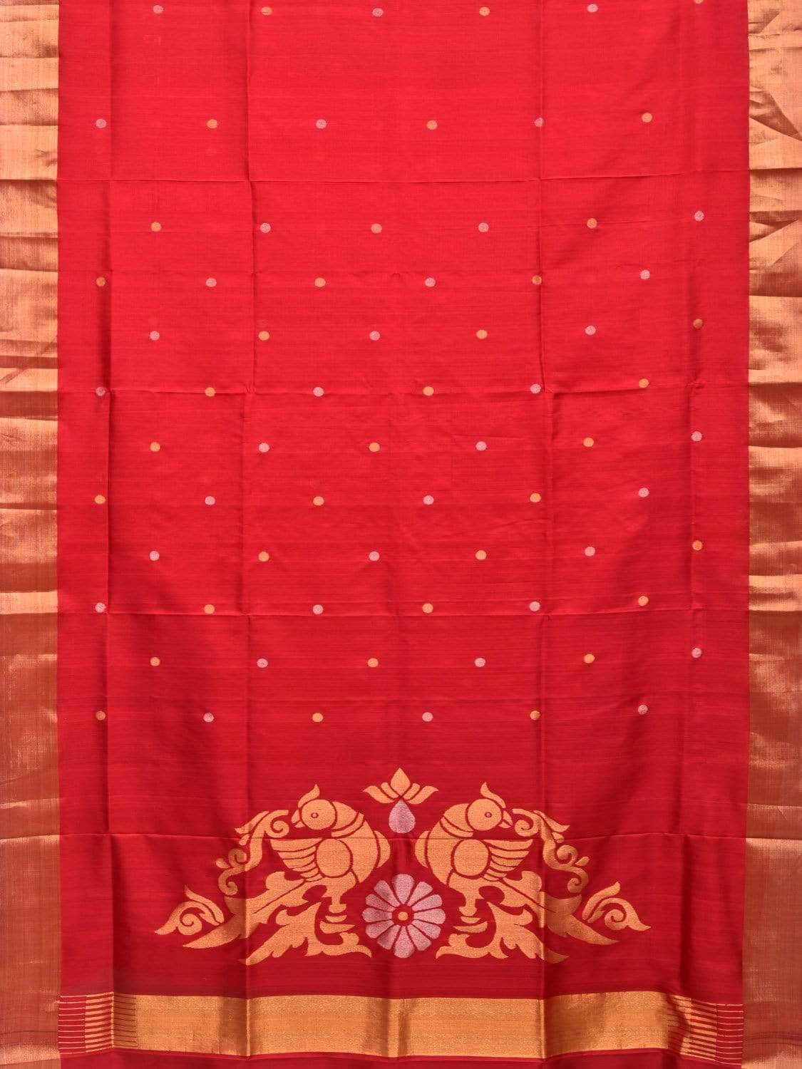 Red Uppada Silk Handloom Saree with Birds Pallu Design u1648