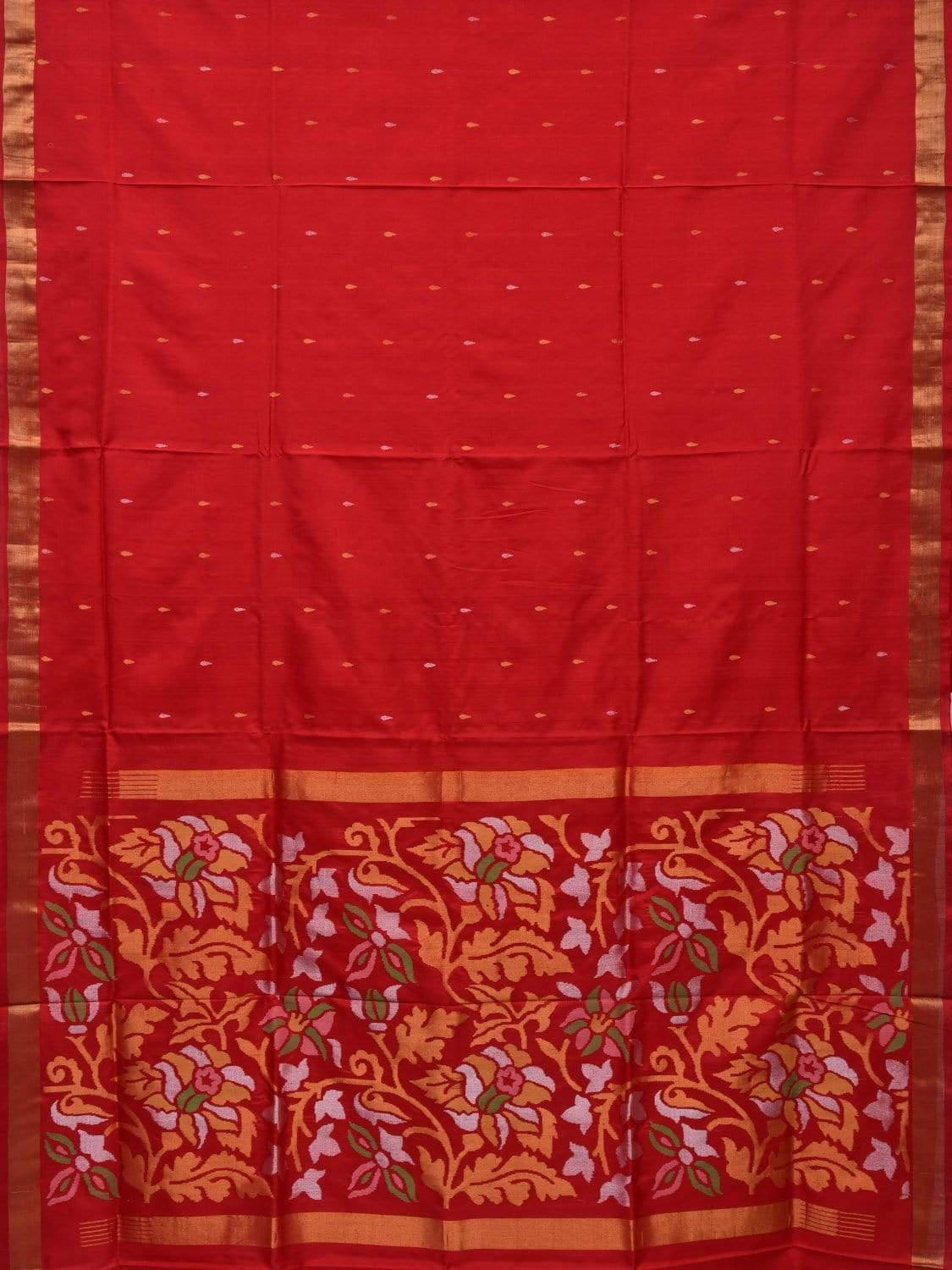 Red Uppada Silk Handloom Saree with Flowers Pallu Design u1604