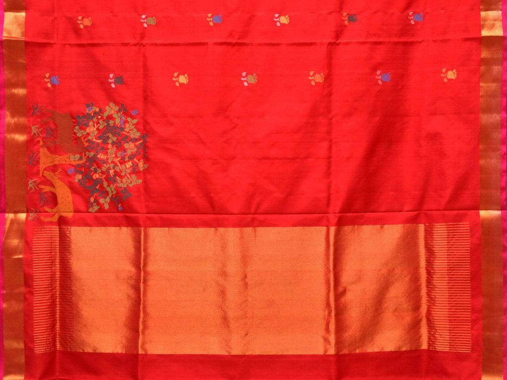 Red Uppada Silk Handloom Saree with Rose Buta and Pallu Design u1662