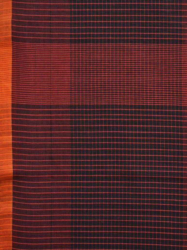 Rust and Black Organic Cotton Handloom Saree with Small Checks Design o0264