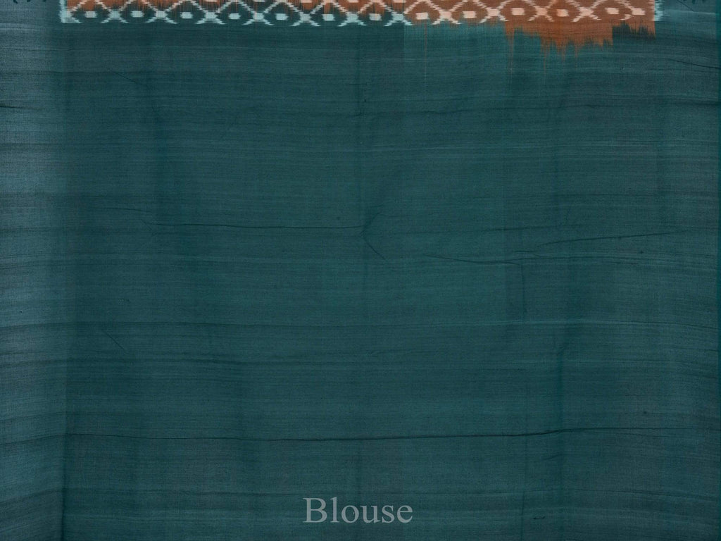 Rust and Green Pochampally Ikat Cotton Handloom Saree with Grill Design i0466