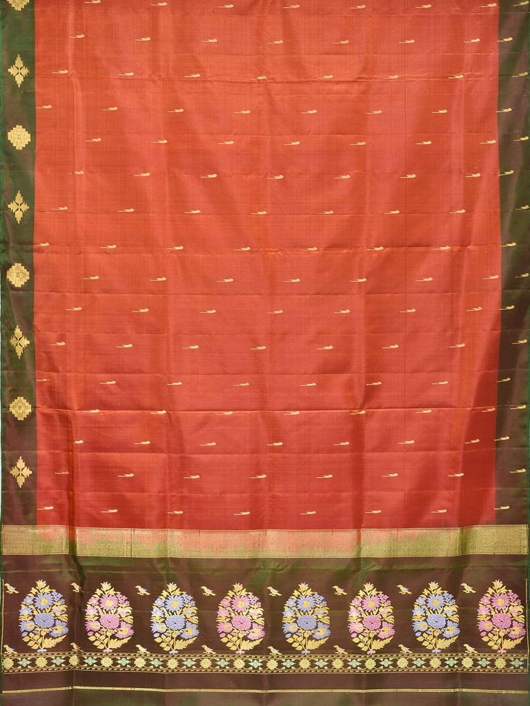 Rust and Green Silk Handloom Saree with One Side Border and Pallu Design O0258