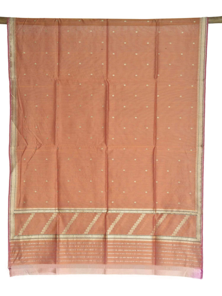 Rust Banaras Cotton Silk Handloom Dupatta with Zari Border ds1644