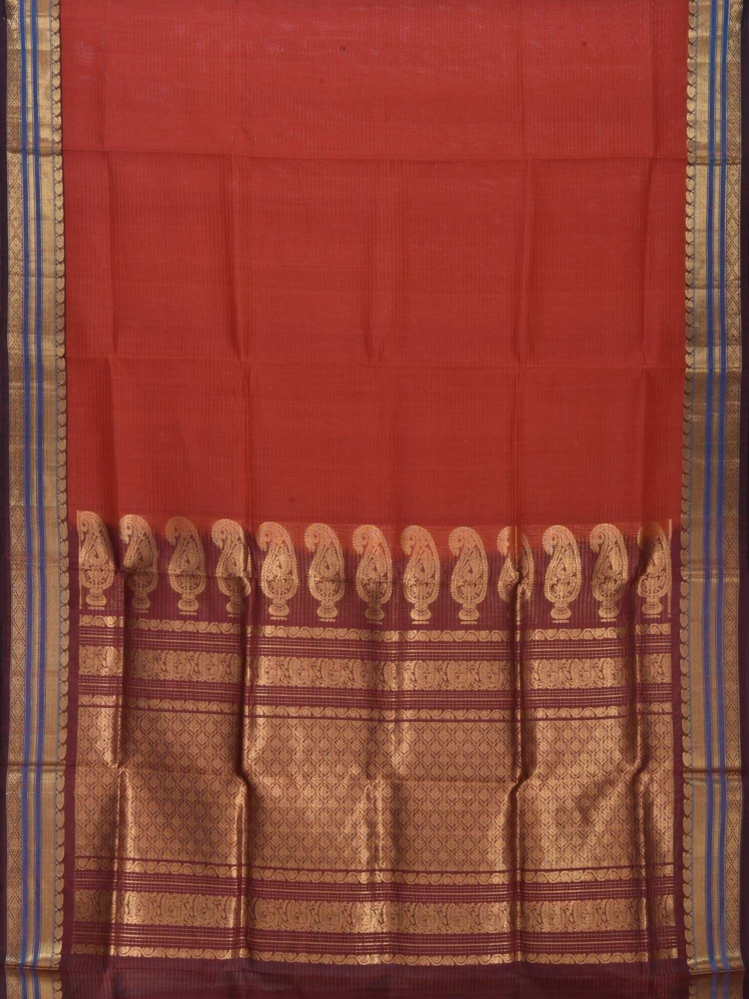 Rust Gadwal Cotton Silk Handloom Saree with Mango Pallu Design g0157
