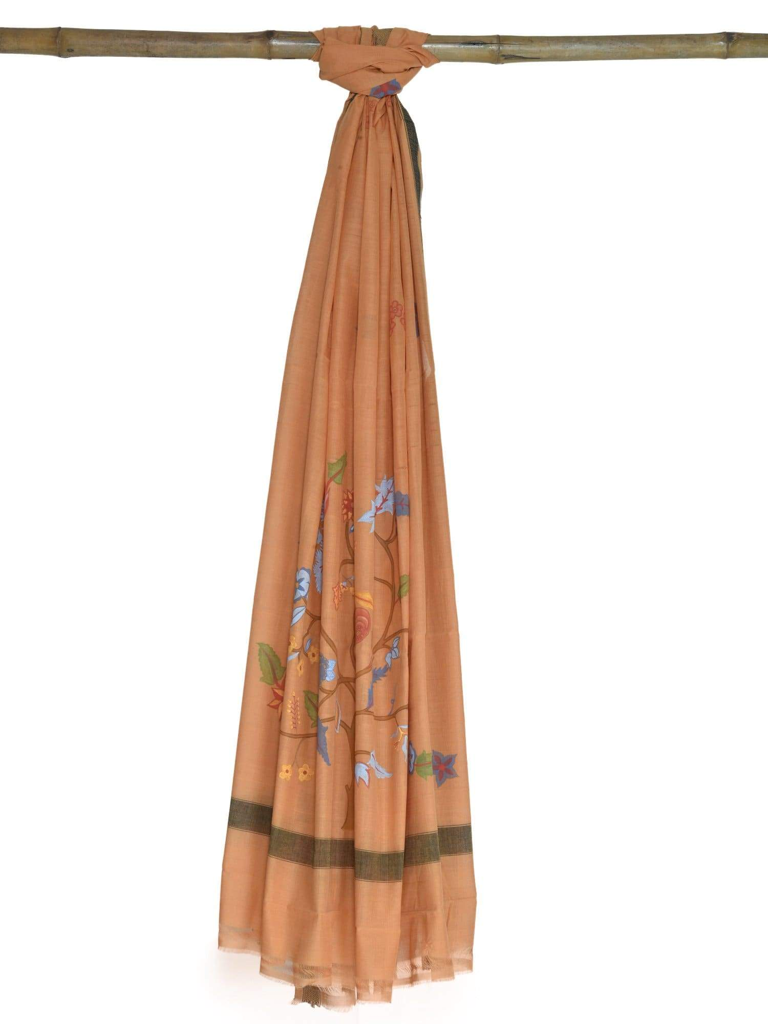 Rust Hand Painted Cotton Handloom Dupatta ds1646