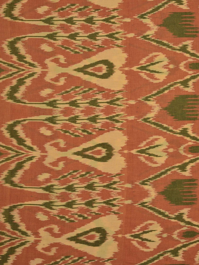 Rust Ikat Cotton Handloom Fabric With Indonesian Design F0087