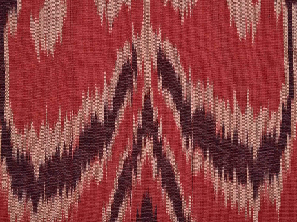 Rust Ikat Cotton Handloom Fabric With Indonesian Design F0100
