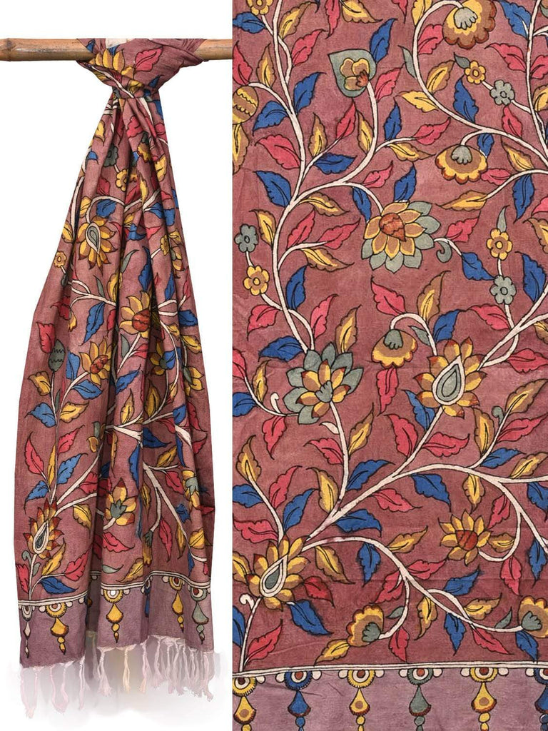 Rust Kalamkari Hand Painted Cotton Handloom Dupatta with Flowers and Leaves Design ds2121