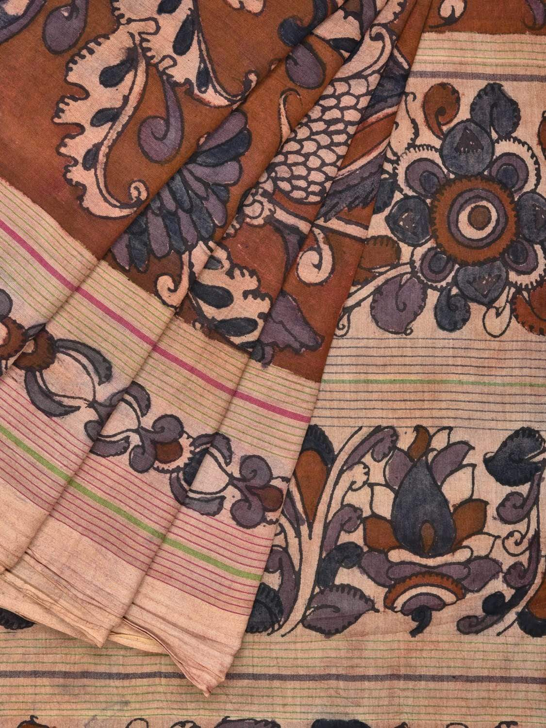Rust Kalamkari Hand Painted Cotton Handloom Saree with Flowers and Birds Design KL0192