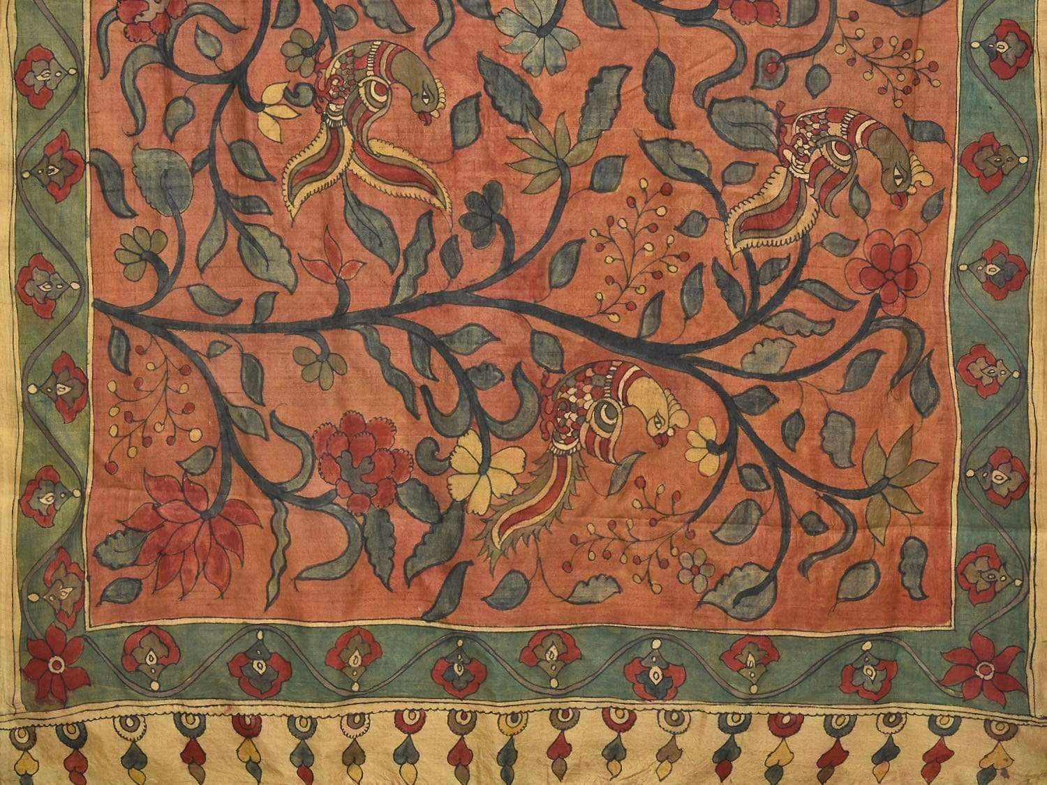 Rust Kalamkari Hand Painted Tussar Silk Handloom Saree with Flowers and Birds Design KL0189
