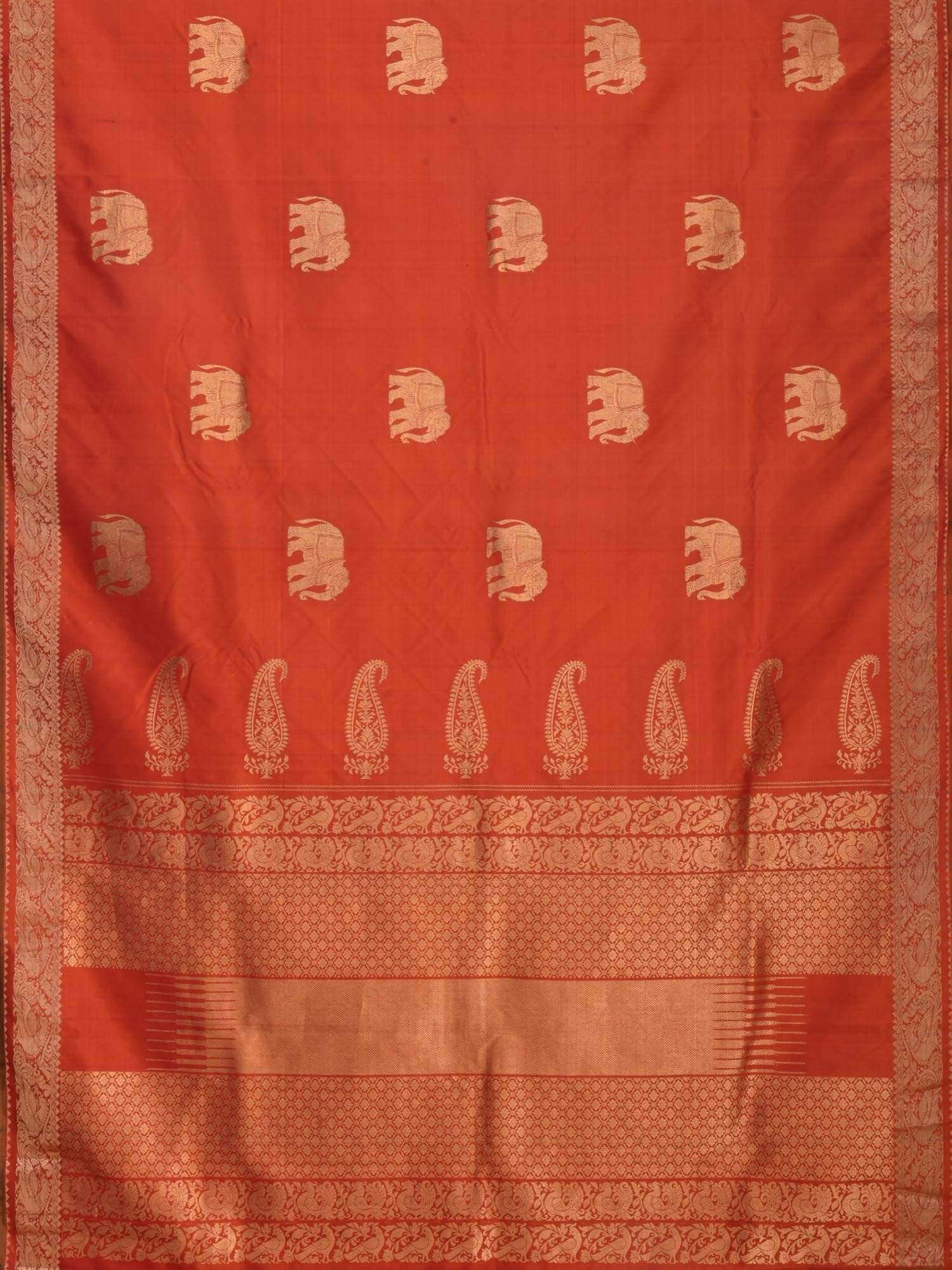 Rust Kanchipuram Silk Handloom Saree with Elephant Buta Design K0279