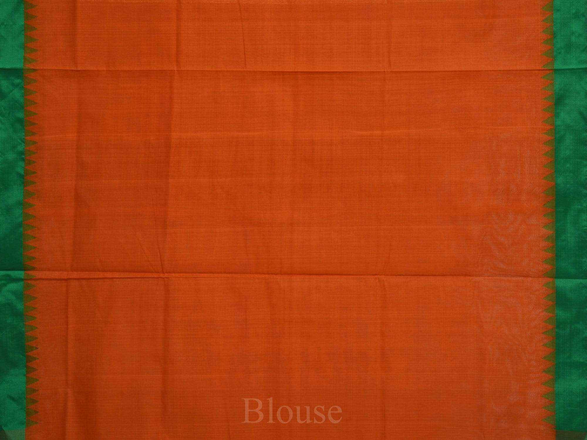 Rust Khadi Cotton Handloom Plain Saree with Silk Temple Border kh0403