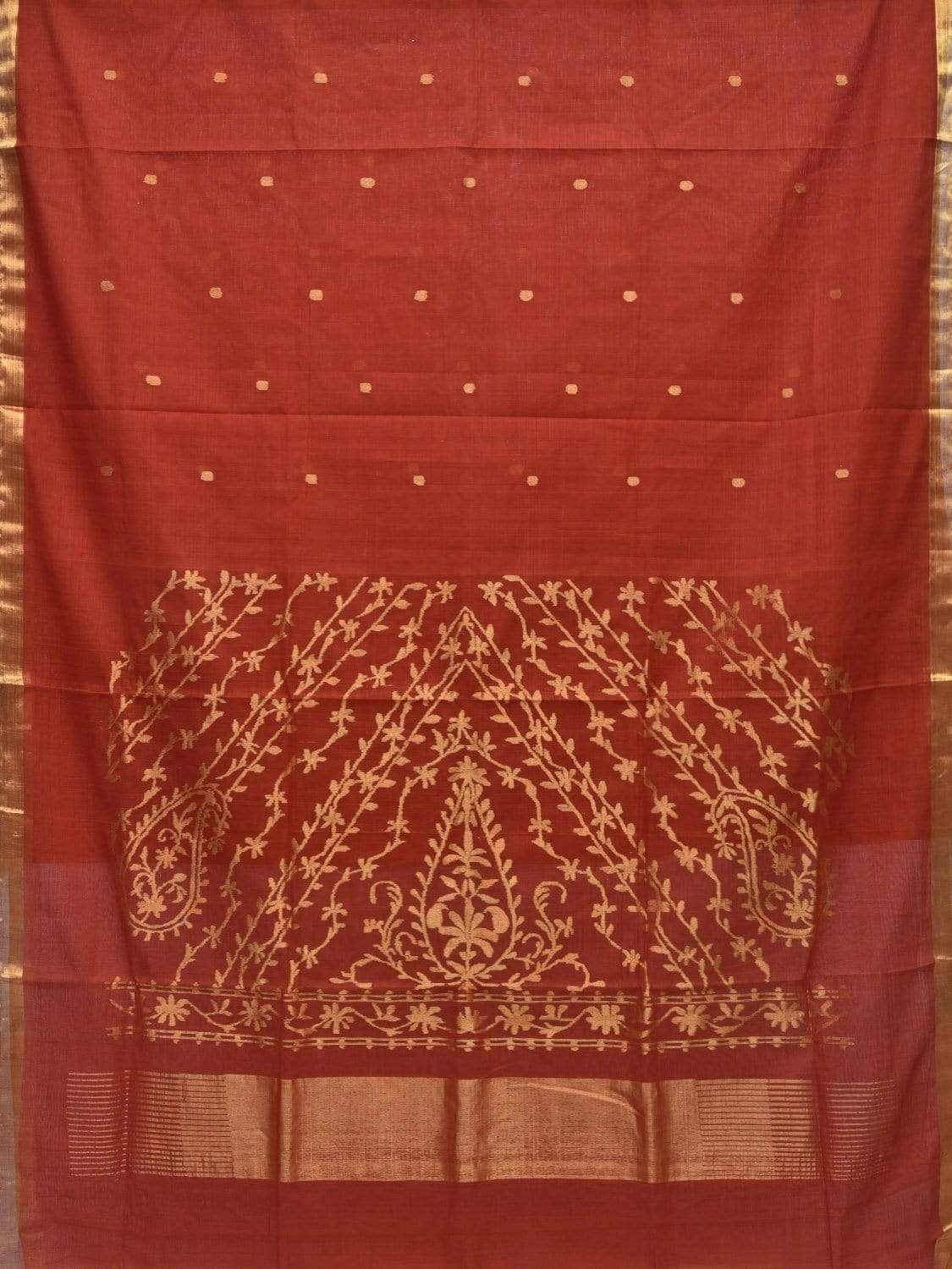 Rust Khadi Cotton Handloom Saree with Pallu Design kh0469