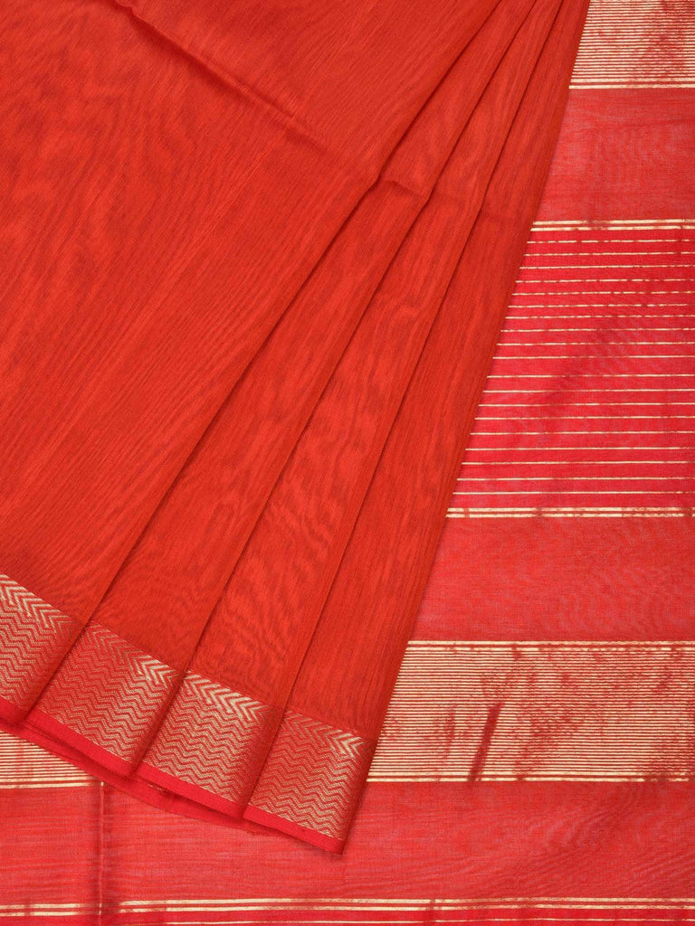 Rust Maheshwari Cotton Silk Handloom Plain Saree with Zari Border Design M0065