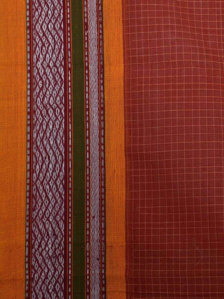 Rust Narayanpet Cotton Handloom Saree with Checks Design No Blouse Np0130