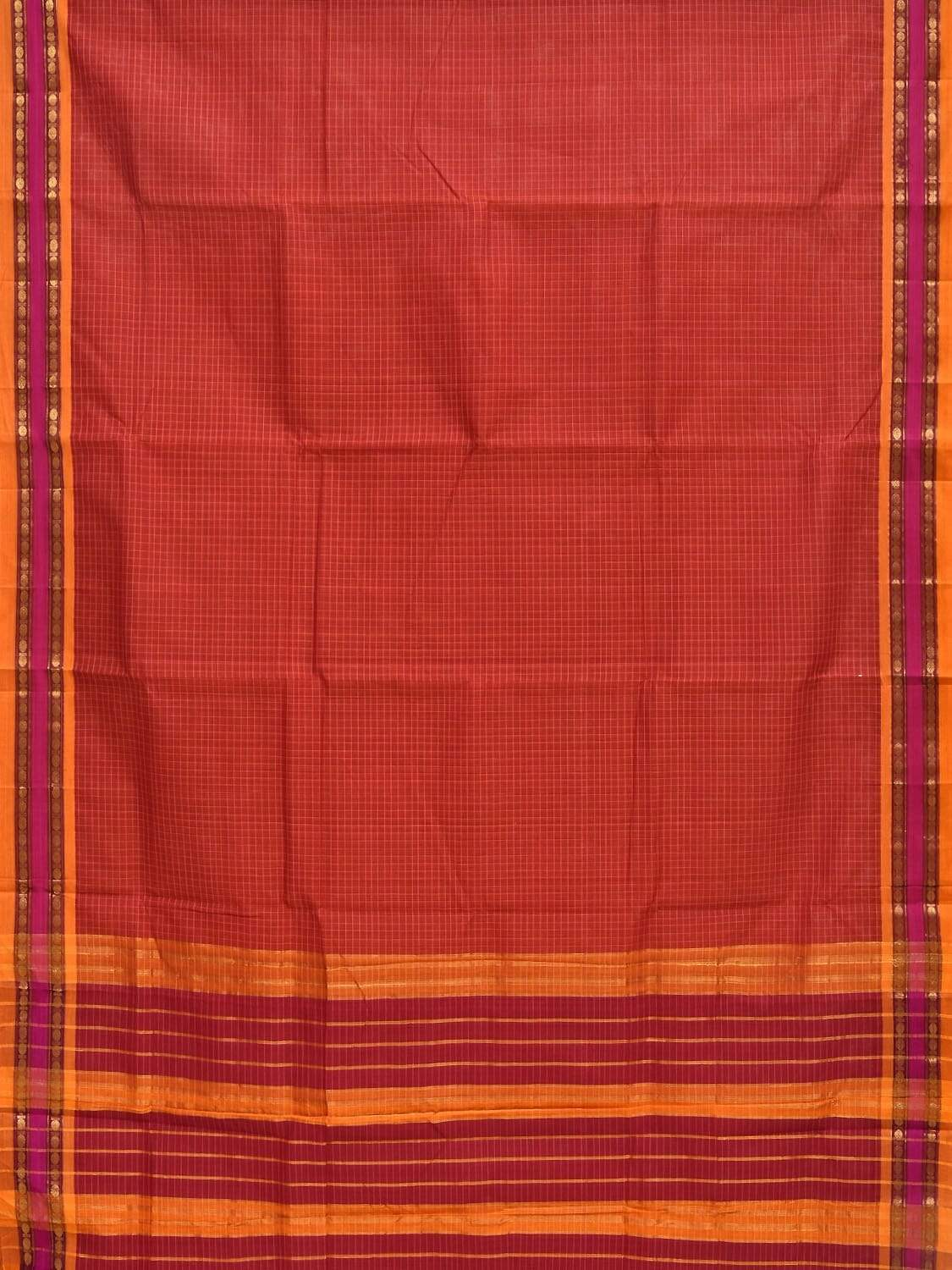 Rust Narayanpet Cotton Handloom Saree with Checks Design No Blouse np0226