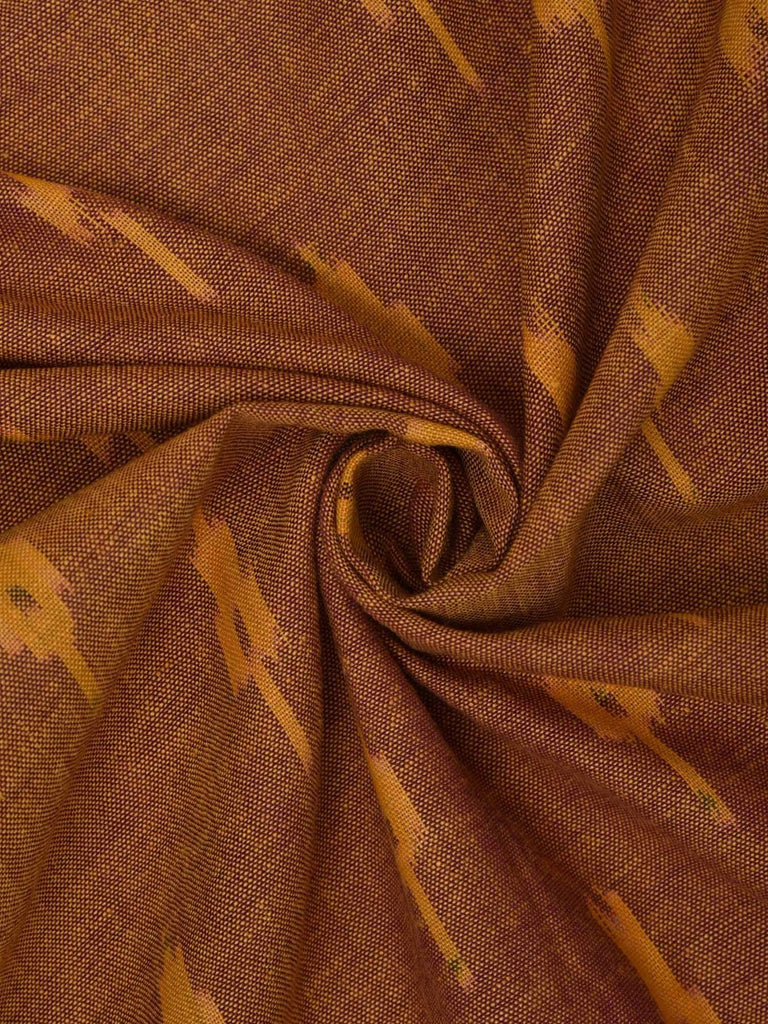 Rust Pochampally Ikat Cotton Fabric With Border Design F0075