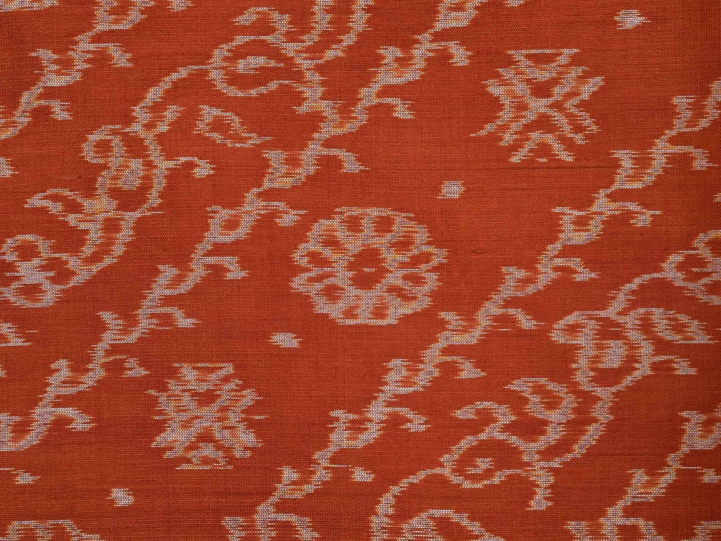 Rust Pochampally Ikat Silk Handloom Saree with Diagonal Design i0429